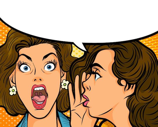 Женщина шепчет сплетню или секрет своему другу с речевым пузырем в стиле ретро комиксов поп-арт.