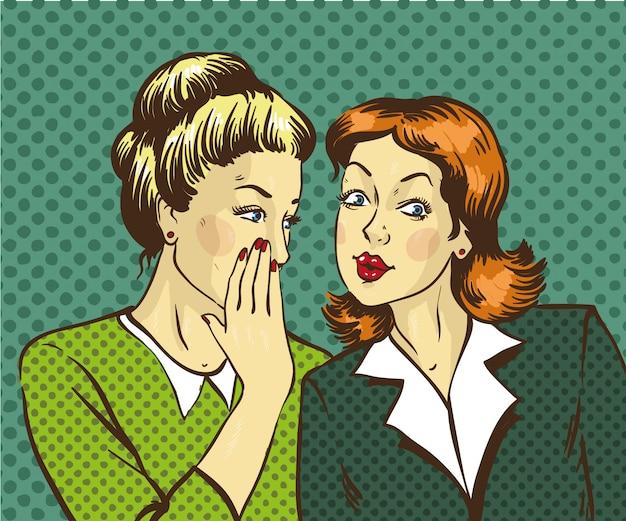 ゴシップや彼女の友人に秘密をささやく女性