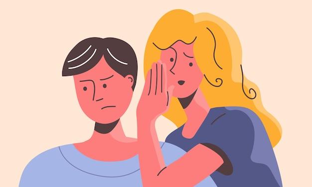 Женщина шепчет на ухо путать человека. злая самка хитро манипулирует грустным самцом.