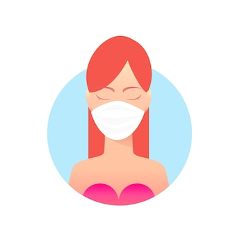 Woman in white medical face mask illustration