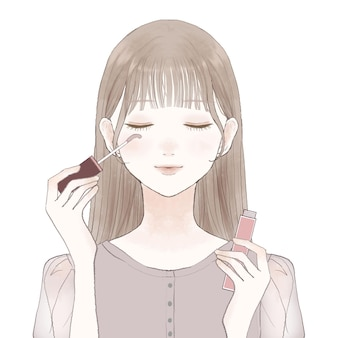 A woman who grows up by applying eyelash serum to her eyelashes. on a white background.