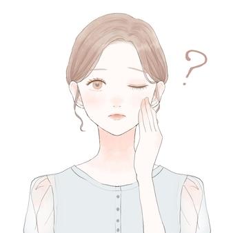 疑問を持っている女性。白い背景に。キュートでシンプルなアートスタイル。
