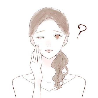 Woman who has doubts. on a white background. cute and simple art style.