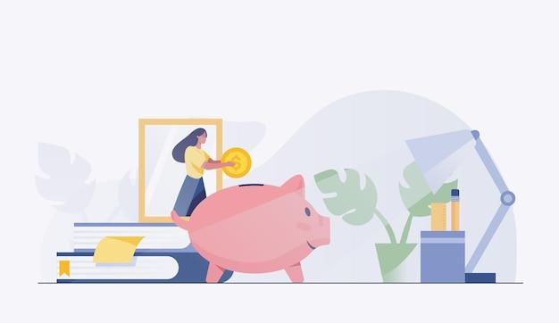 貯金箱にお金を貯める女性。