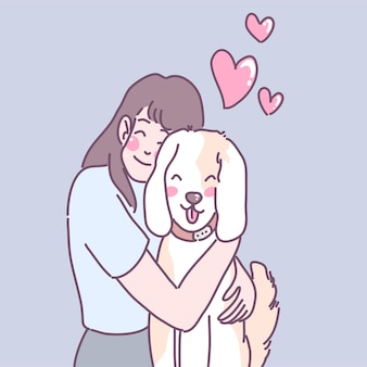 A woman who shows love for dogs by hugging