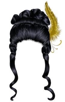 Кудри волос парик женщина, изолированные на белом