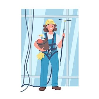 Женщина мойщик окон плоский цвет подробный характер. дама в рабочей форме. веселая женщина уборщица небоскреба изолировала иллюстрацию шаржа для веб-графического дизайна и анимации