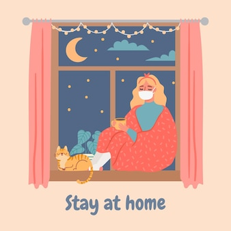 Woman at window. young sad girl in apartment sits on windowsill and drinks coffee. lonely female in quarantine, stay at home vector concept. illustration woman alone sitting at apartment