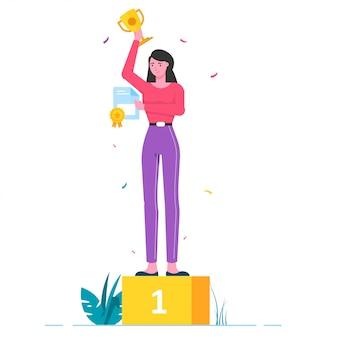 Woman winner best officer illustration