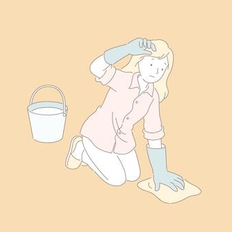 ラインスタイルのイラストで床を拭く女性
