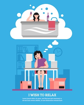 Woman wishing to relax flat illustration