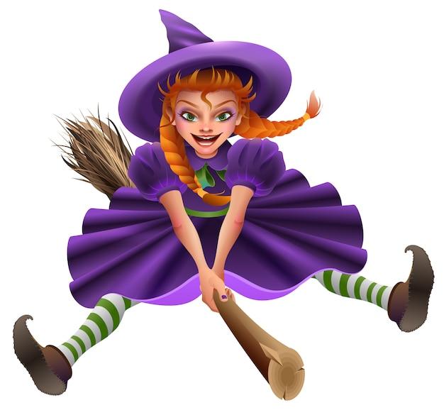 Женщина-ведьма летает на метле.