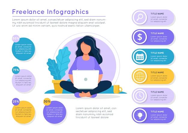 ラップトップ、さまざまなデータのカラフルな要素を持つ女性