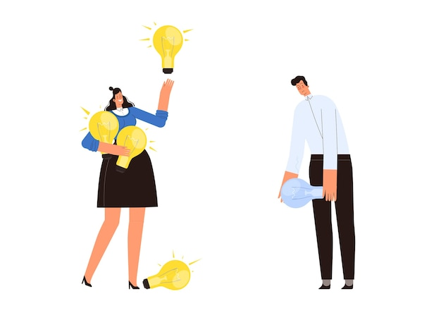Женщина с большим количеством идей и мужчина, у которого их нет. понятие о возникновении бизнес-идей у разных людей: сравнение успешного бизнесмена и неудачника.