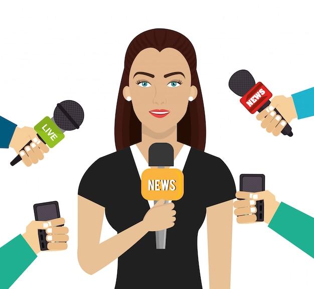 Женщина с большим количеством микрофонов
