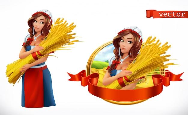 小麦の束を持つ女性。農民、農家のキャラクターとラベル