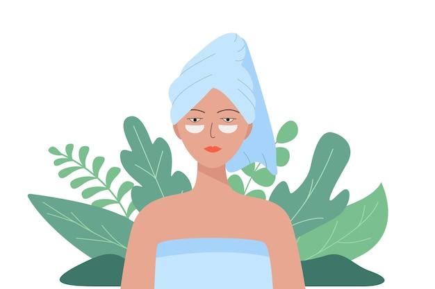 彼女の頭にタオルと彼女の顔に化粧品のパッチを持つ女性。美しさ、衛生の概念のベクトルイラスト。自然な背景。