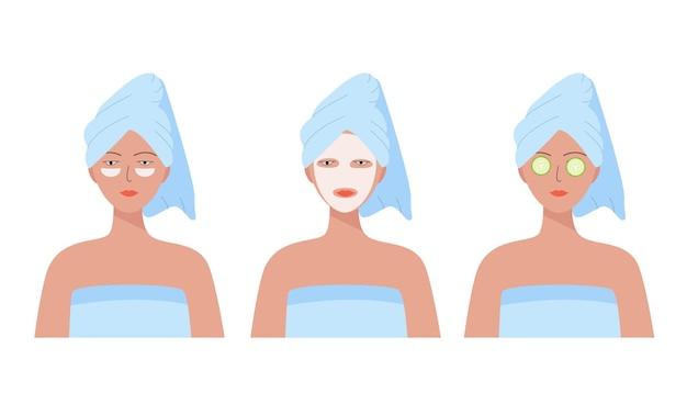彼女の頭にタオルを持つ女性。化粧パッチ、顔のマスクとキュウリ、自宅でのセルフケアのための3つのオプション。