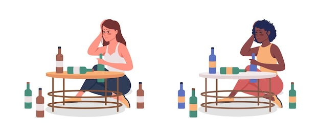 アルコール依存症の女性セミフラットカラーベクトル文字セット。座っている姿。白の全身の人々。悪い習慣は、グラフィックデザインとアニメーションコレクションのモダンな漫画スタイルのイラストを分離しました