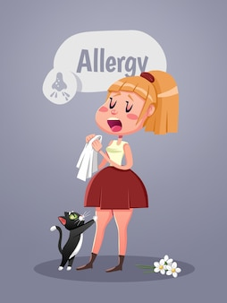 Woman with allergy symptom blowing nose. vector illustration