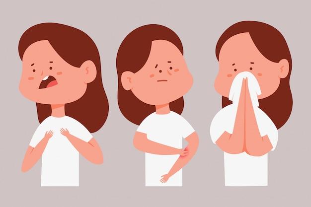 アレルギー症状のある女性。背景に分離された病気の女の子の漫画のキャラクターセット。