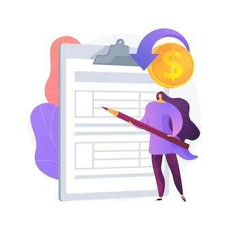 Woman with arrangement on clipboard. monetization pact idea. signing license. business deal, profitable contract, important documentation. vector isolated concept metaphor illustration