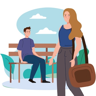 公園のデザイン、アウトドアアクティビティ、季節のテーマでベンチに座っているバッグと男性を持つ女性。