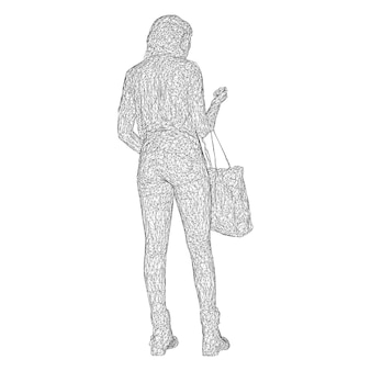 A woman with a bag on her bent hand. vector illustration of a black triangular mesh on a white background.