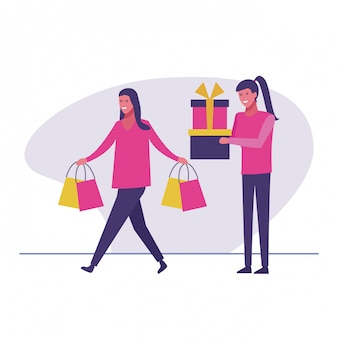 Woman with bags and girl with presents