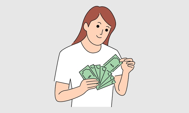 Woman with banknotes of money