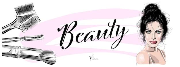 Женщина с красивым макияжем брюнетки стильная иллюстрация для визажиста