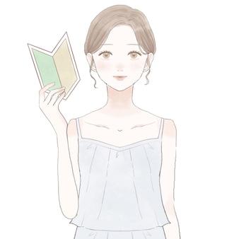Женщина с отметкой для начинающих. изображение ухода за кожей. на белом фоне.