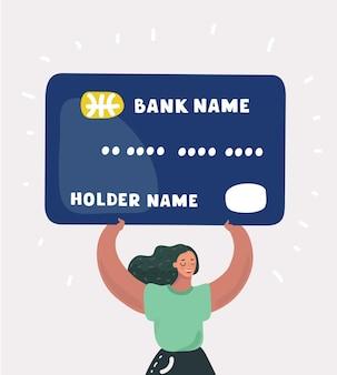 Женщина с большой кредитной картой в руках