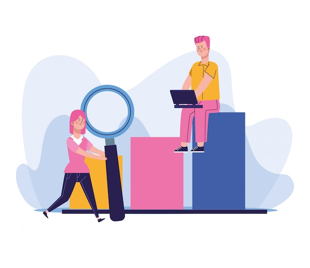 Woman with big magnifying glass and man using a laptop sitting on chart bar graph