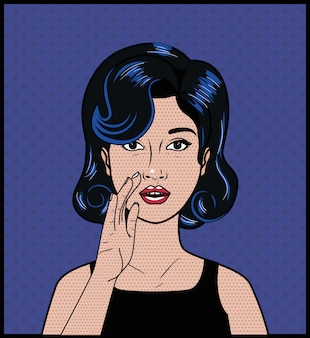 Woman with black hair pop art style