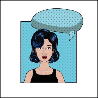 Woman with black hair and speech bubble pop art style