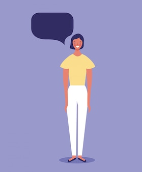 Woman with blank speech bubble