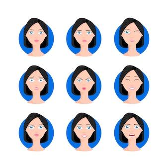 ボブの散髪セットのベクトル図を持つ女性。さまざまな表情、感情を持つ短い髪の漫画スタイルのブルネットの黒髪の若い女性。キャラクターコレクションデザイン。