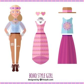 Boho 옷과 평면 디자인의 다른 요소를 가진 여자