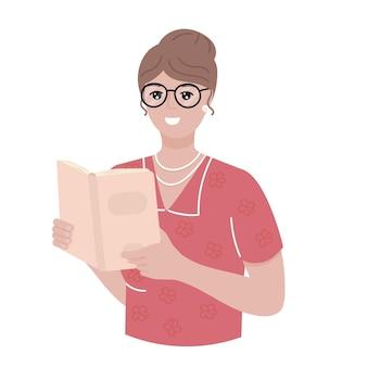白い背景のベクトル図に分離された本を持つ女性