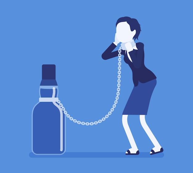 アルコール依存症のボトルを持つ女性