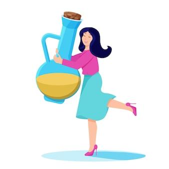 그녀의 손에 기름 한 병을 든 여자 케토 다이어트 유용한 올리브 오일 아마씨 오일