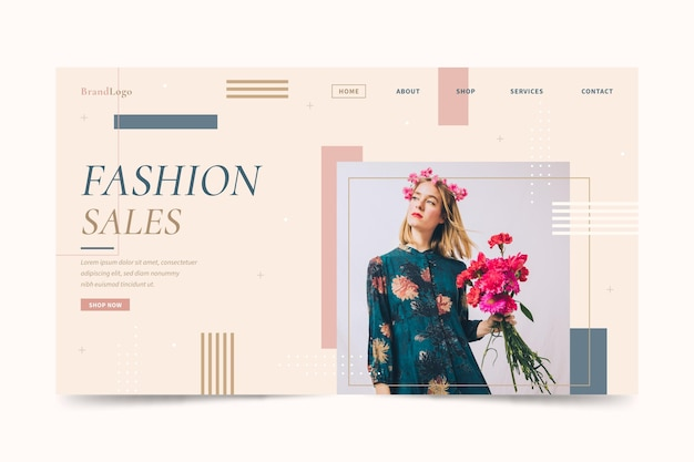 Woman with bouquet of flowers fashion sale landing page