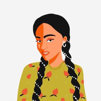Женщина с косами