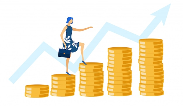Woman with briefcase ascending by coins, growth.