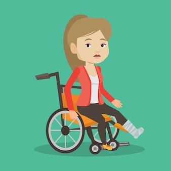 Woman with broken leg sitting in wheelchair.