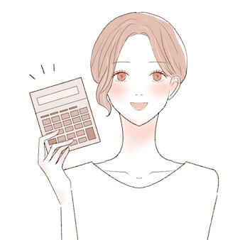 Woman with calculator. on a white background.