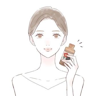 椿油の女性。白い背景に。