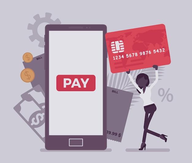 디지털 청구서, 모바일 결제를 만드는 카드를 가진 여자. 여성 소비자, 온라인 상품, 제품, 지원, 서비스, 스마트폰 콘텐츠에 대한 비용을 지불하는 여성 사업가입니다. 얼굴 없는 문자로 벡터 일러스트 레이 션