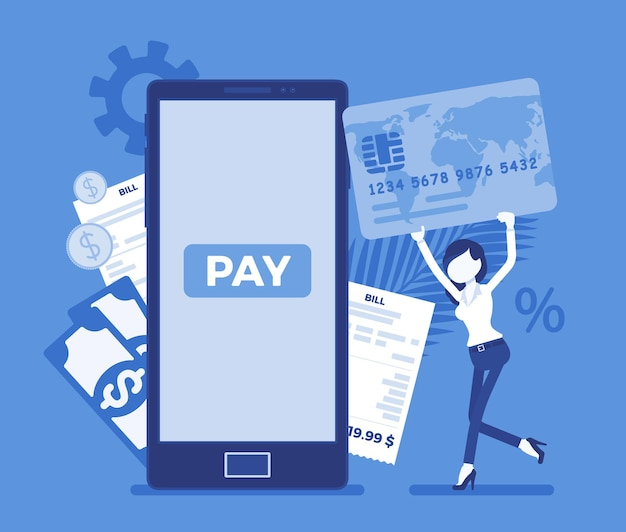Woman with card making digital bill, mobile payment. female consumer, businesswoman paying for online goods, product, support, service, smartphone content. vector illustration with faceless character